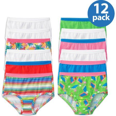 6e09b28daaa9 Fruit of the Loom Girls' 100% Cotton Brief Panties, 12-Pack, Girl's, Size:  4, Assorted