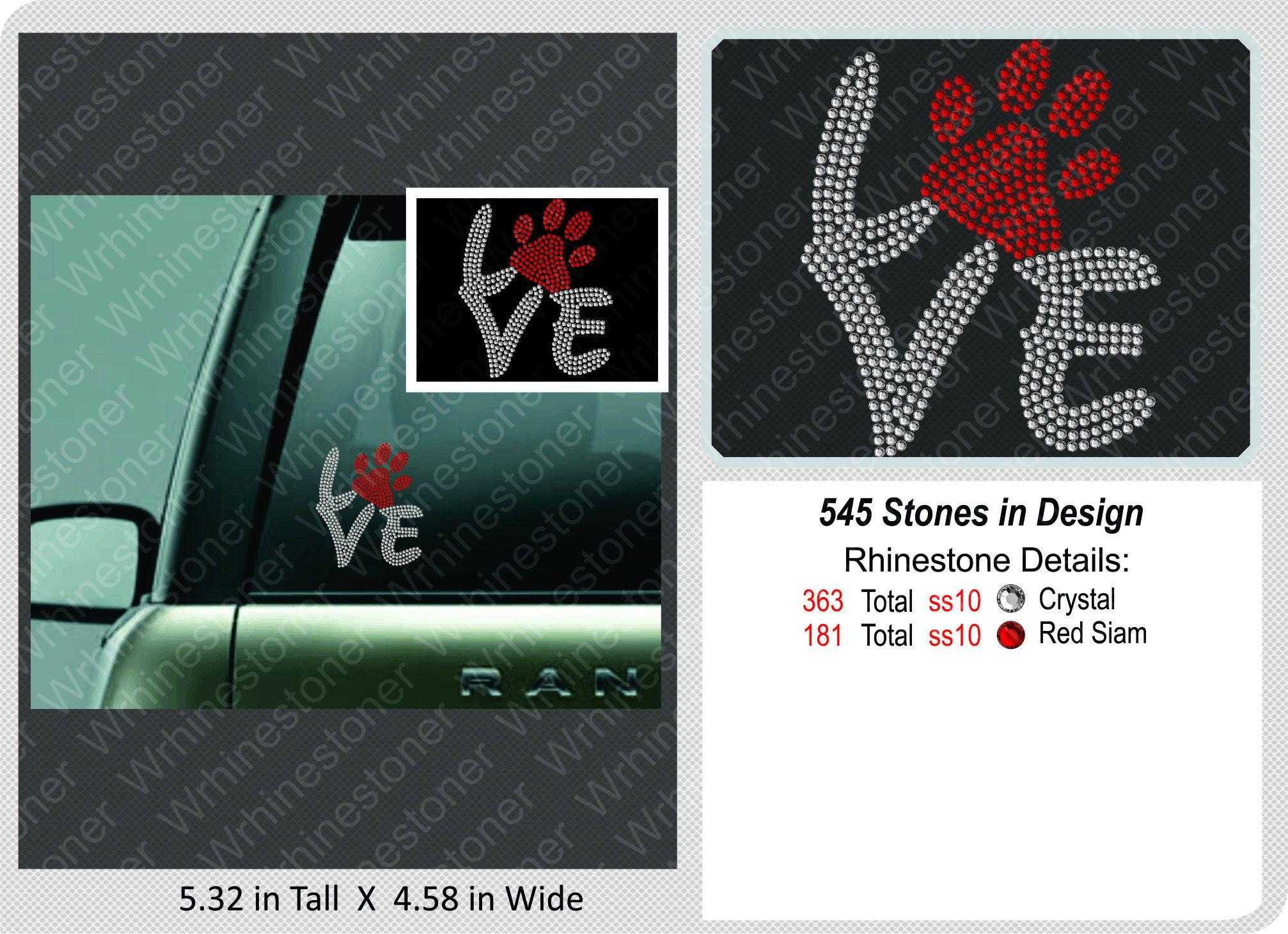 Love Paw Print Rhinestone Car Decalrhinestone Sticker Bling Etsy Rhinestone Car Decal Rhinestone Sticker Rhinestone Decal [ 1461 x 2014 Pixel ]