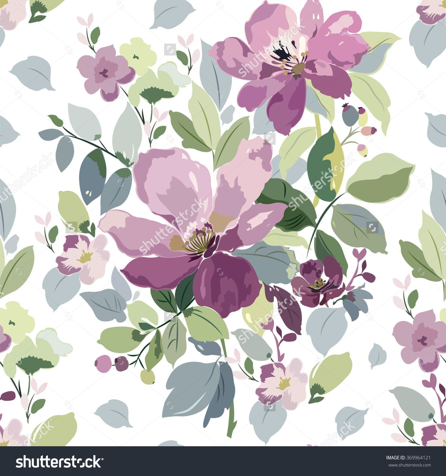 Seamless Pattern With A Bouquet Of Purple Flowers Buds And Leaves