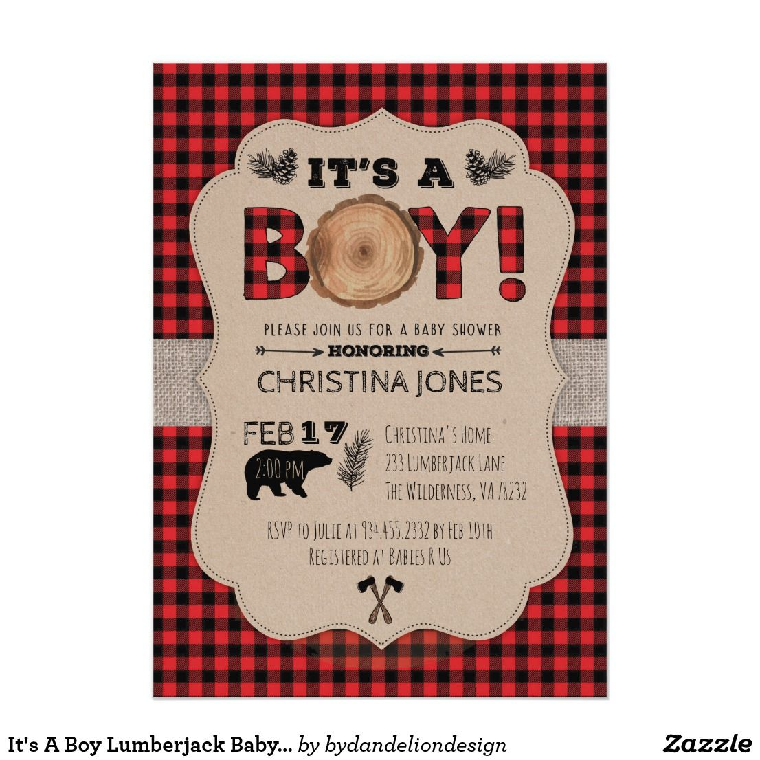 It\'s A Boy Lumberjack Baby Shower Invitation   Shower invitations