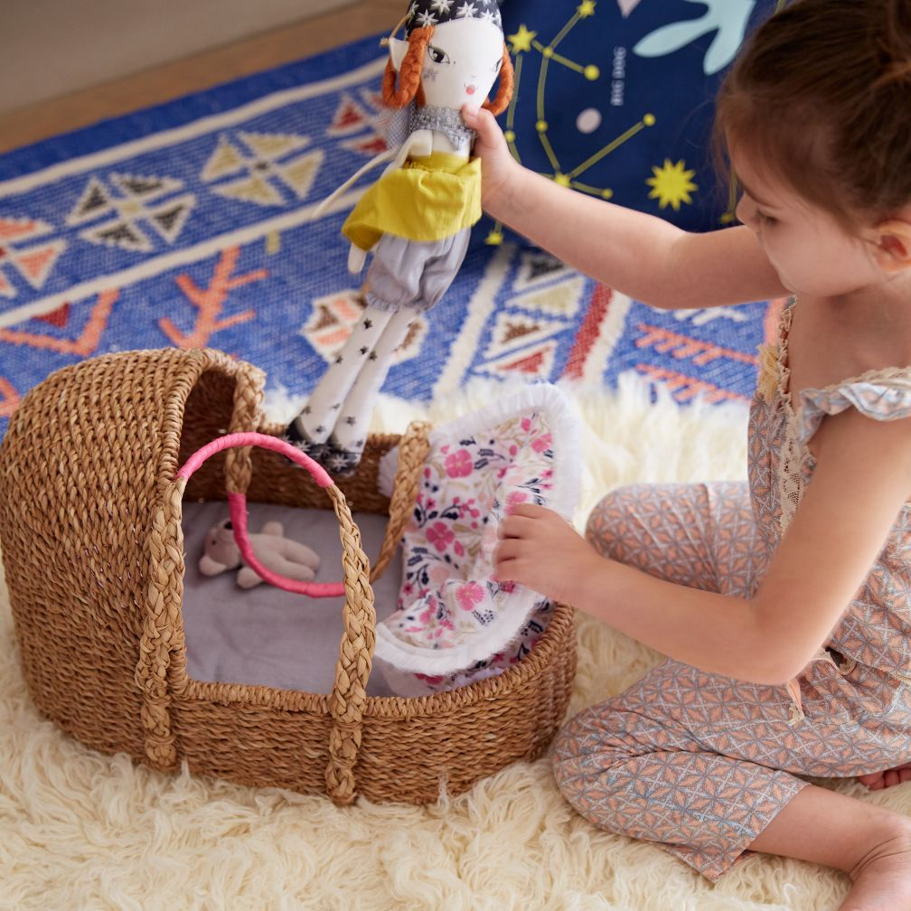 Doll Moses Basket with Bedding The Land of Nod Baby