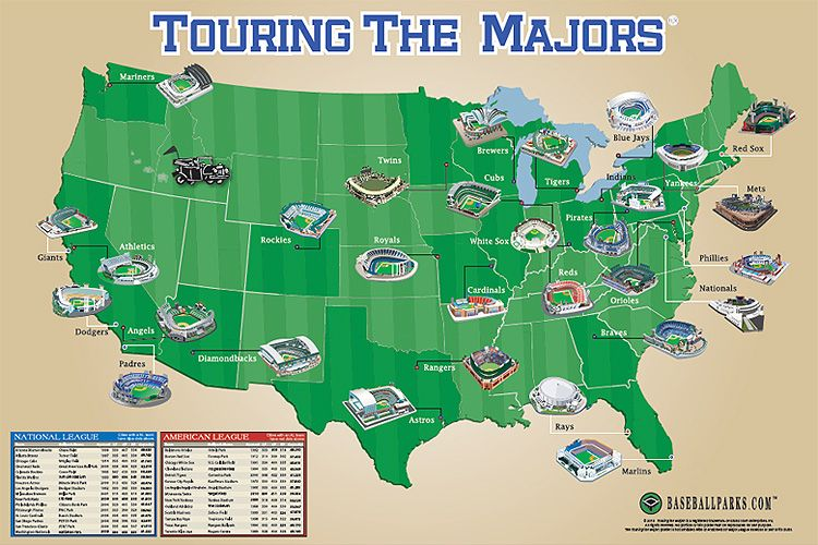 Touring The Majors Ballpark Map Poster Totally Want This To - Us map of mlb teams