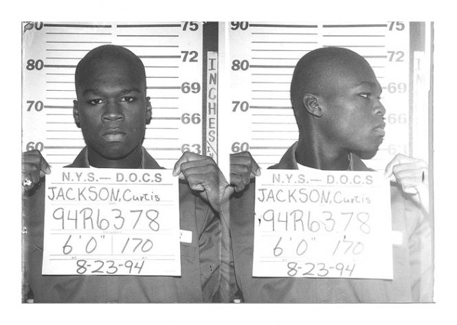 Rapper 50 Cent (aka Curtis Jackson) was photographed in August 1994 while serving time in a New York State Department of Correctional Services shock incarceration program. 50, then 19, had pleaded guilty to felony charges of peddling heroin and crack cocaine.