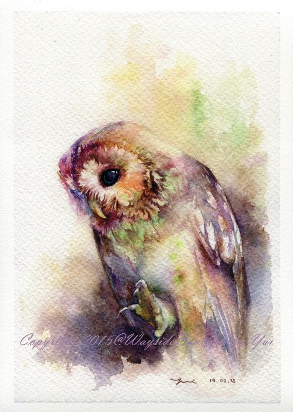 Print The Owl Watercolor Painting 7 5 X 11 Aquarelle De Hibou