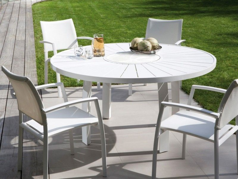 Table de jardin ronde en aluminium aspen jati kebon 992 naos interio - Petite table ronde jardin ...