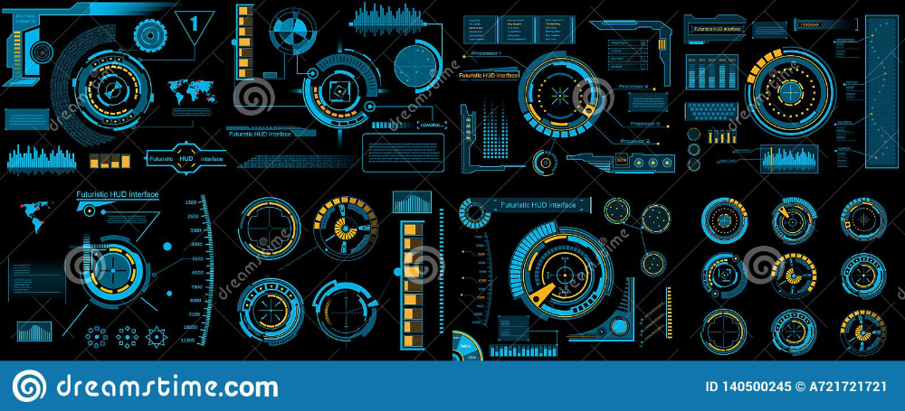 Creative Vector Illustration Of Hud Interface Elements Set Infographics Sci Fi Isolated On Transparent F Vector Illustration Futuristic Background Infographic