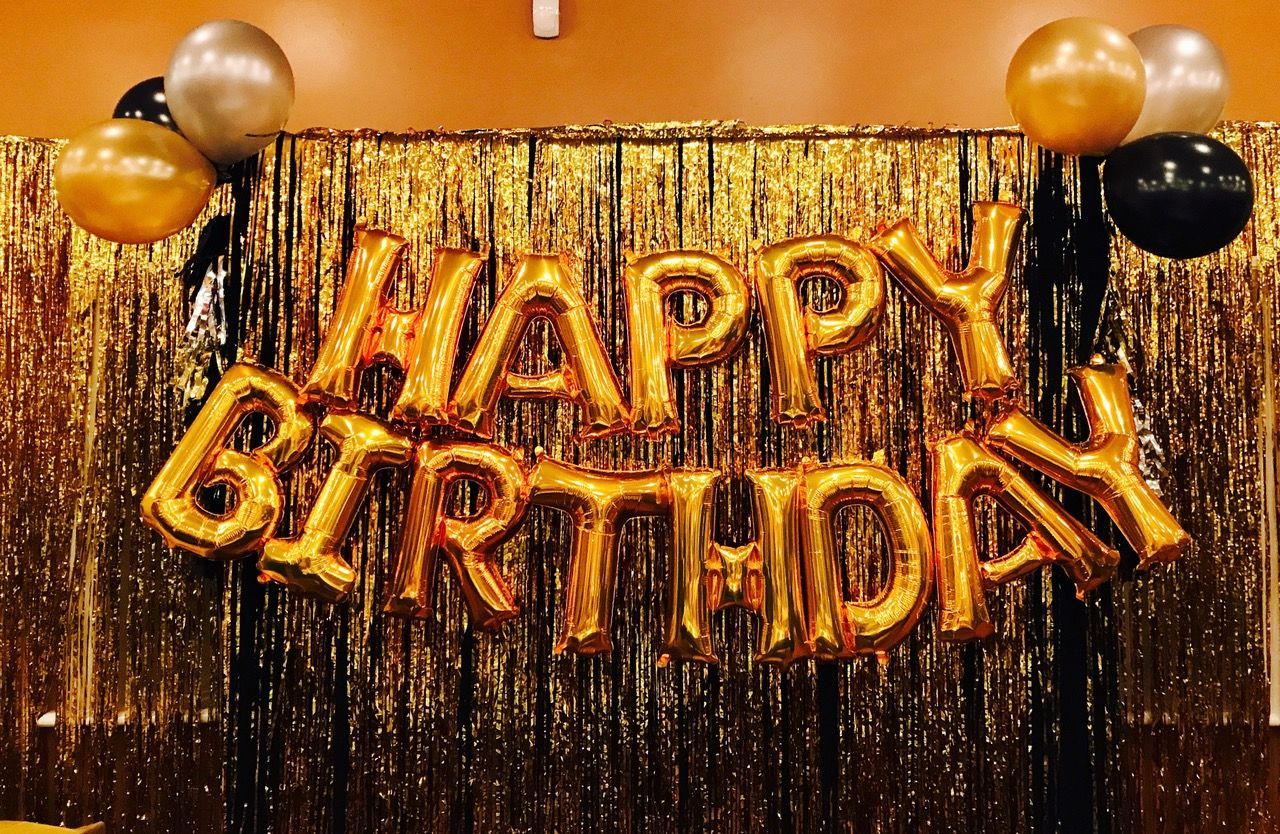 A Birthday Backdrop With Gold Fringe Curtains Gold Happy Birthday
