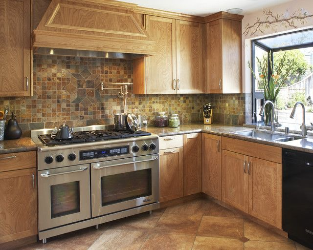Image result for maple cabinets with slate backsplash ... on What Color Backsplash With Maple Cabinets  id=40450