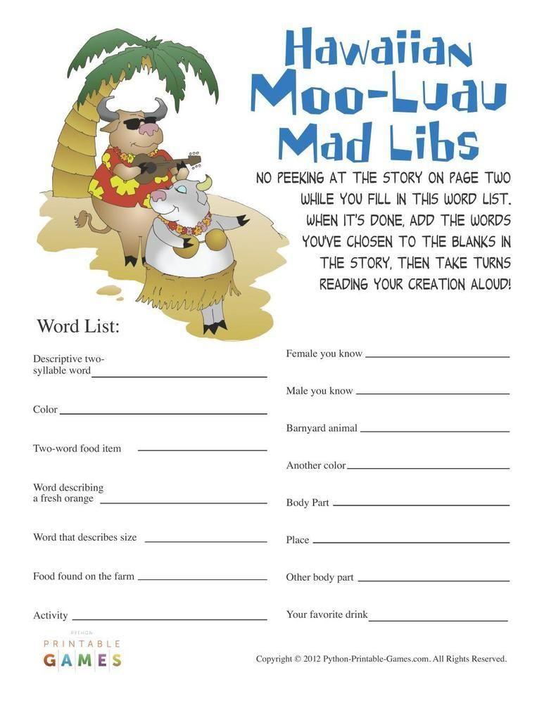 Hawaiian luau party mooluau mad libs 395 luau games