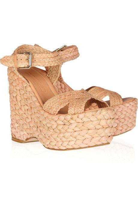 original sale online Ralph Lauren Collection Raffia Platform Sandals excellent KbNUrqsqgI