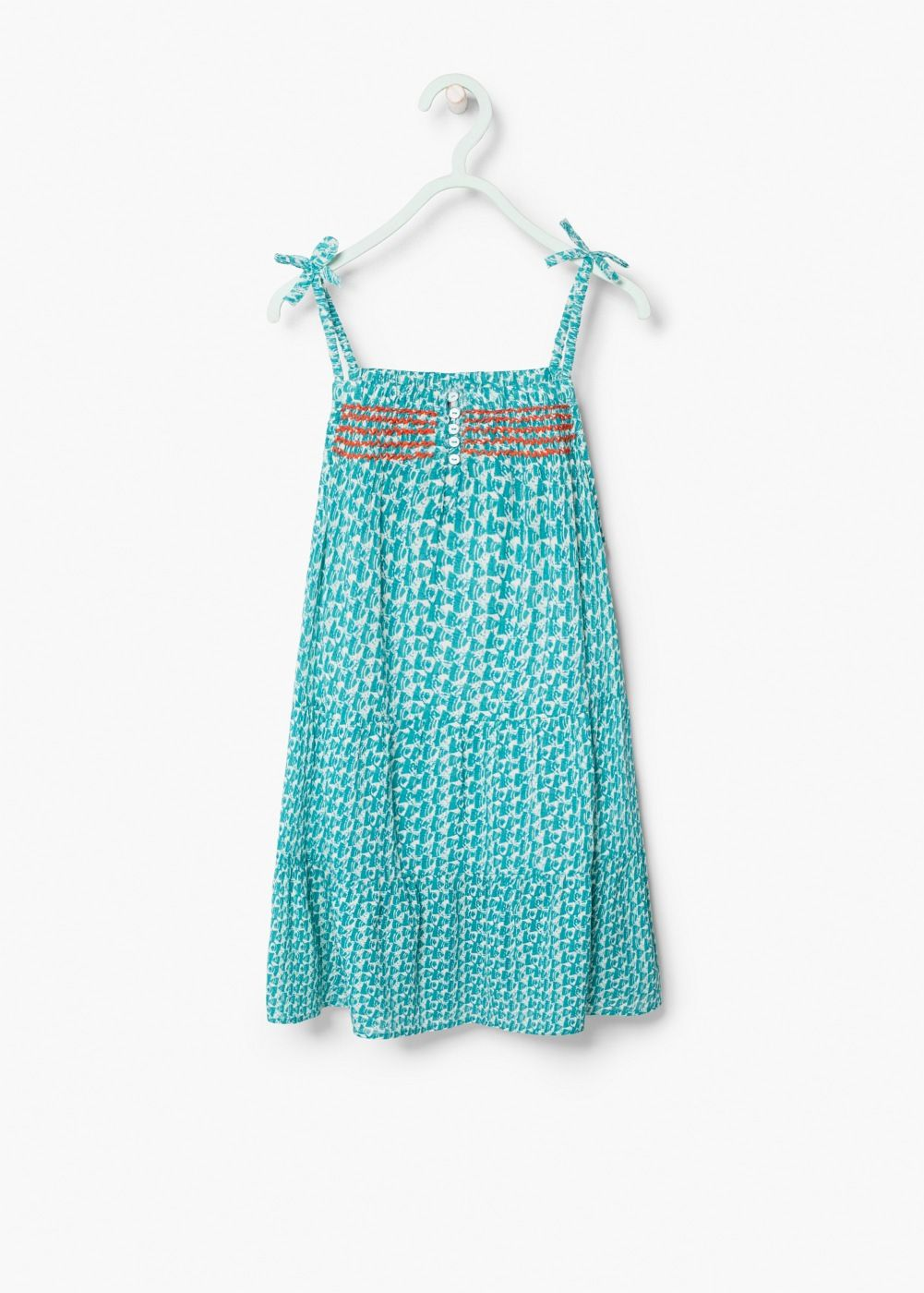 Embroidered printed dress | MANGO KIDS