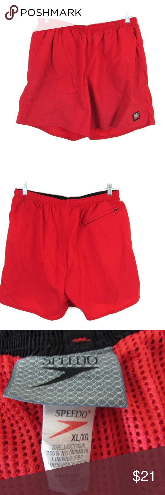 ab32d96785f72 Speedo Mens Swim Shorts Size XL Speedo Mens Swim Shorts Elastic Draw String  Waist Size XL Red Very Good Condition. Flat Lay Measurements Waist 17