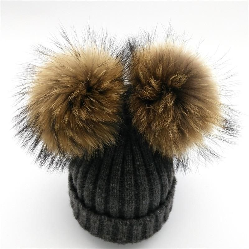 8f97751acf675 Lanxxy Real Mink Fur Pompom Hat Women Winter Caps Knitted Wool Cotton Hats  Two Pom Poms