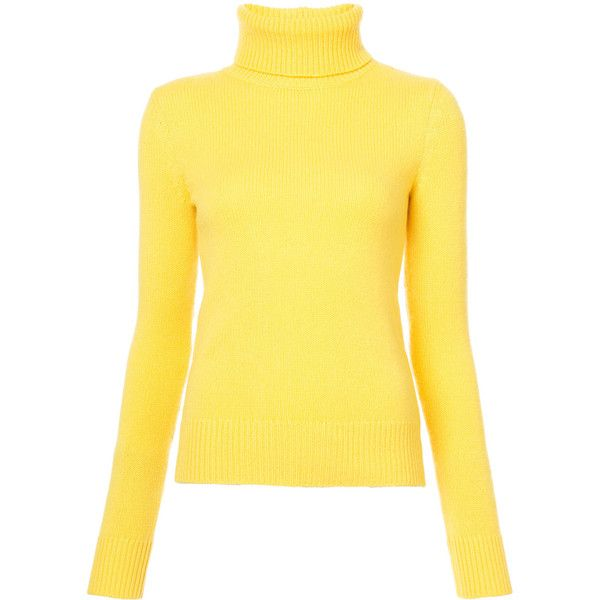 Ralph Lauren Collection roll neck jumper (€820) ❤ liked on Polyvore featuring tops, sweaters, yellow, yellow jumper, roll neck sweater, cashmere sweater, jumper tops and yellow top