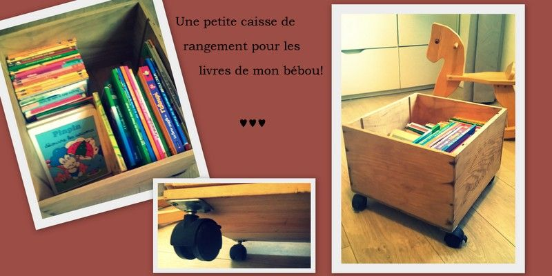 diy caisse vin roulette rangement livres jouets. Black Bedroom Furniture Sets. Home Design Ideas