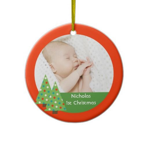 Christmas Tree Holiday Ornament Baby First Christmas. Photo ornament.