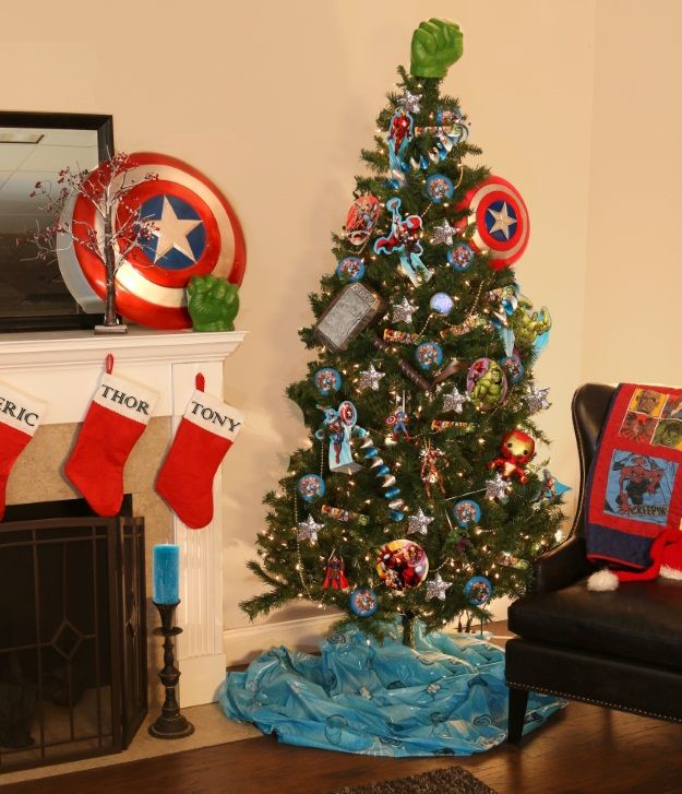 6 Pop Culture Christmas Trees Fun Com Blog Superhero Christmas Disney Christmas Tree Christmas Tree Themes