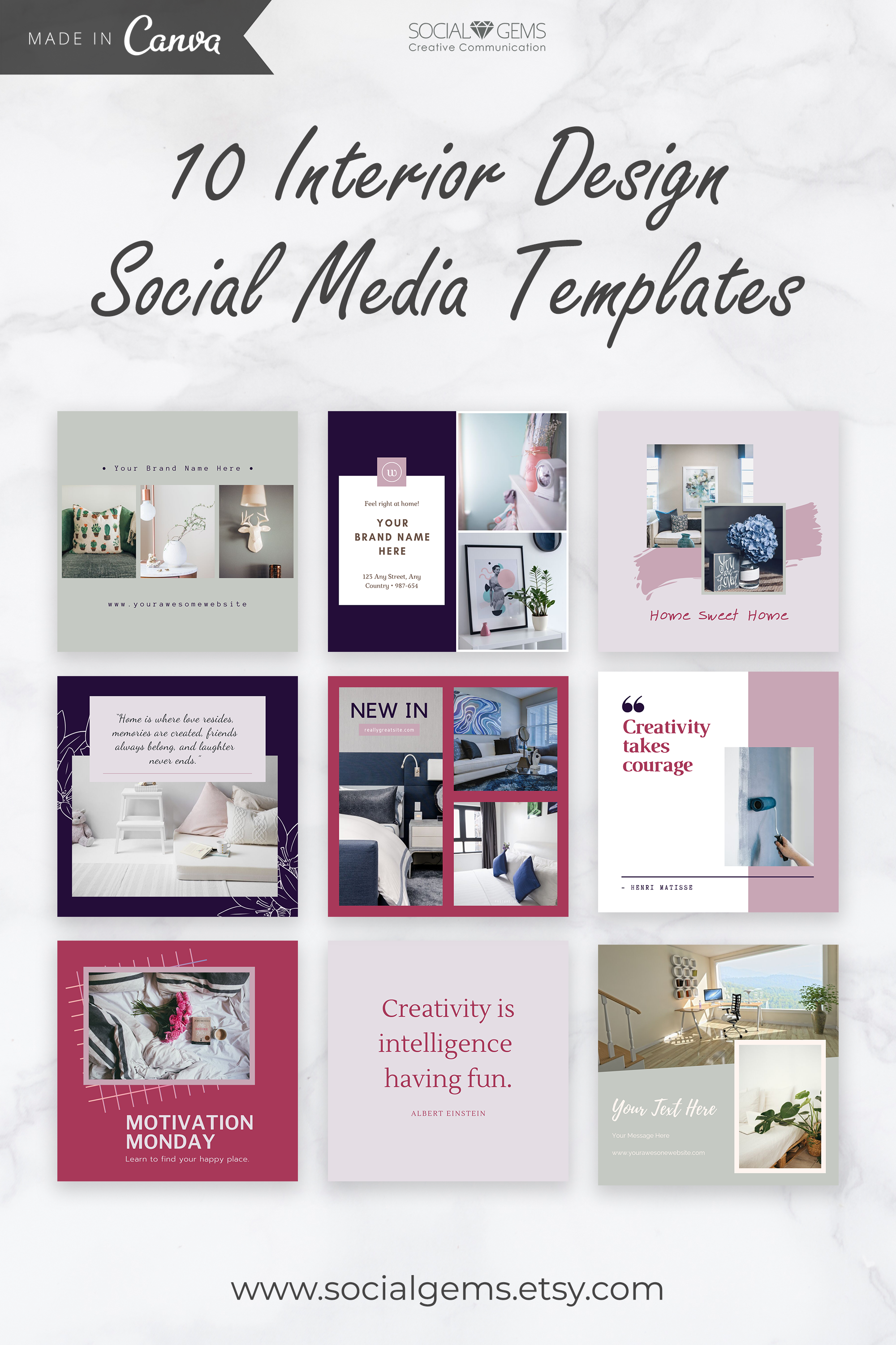 Interior Design Social Media Templates Instagram Template Etsy