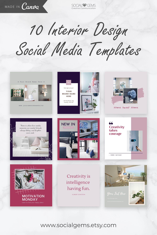 Interior Design Social Media Templates Instagram Template Etsy