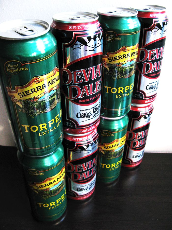 IPA in Tall Boys! Torpedo and Deviant Dale's.
