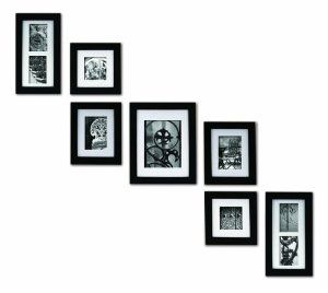 pinnacle frames and accents 7 piece photo frame set black solid wood price