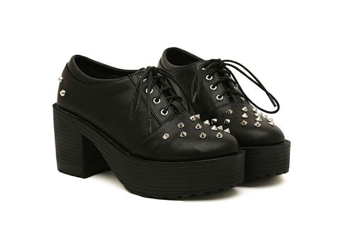 Punk Negro Plataforma Diseño De Studs Del Zapatos Estilo Mujeres VpzqSMUG
