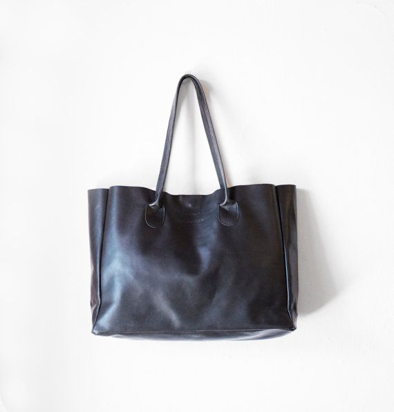 Black Leather Shopper Leather Tote Shoulder Bag Black von morelle