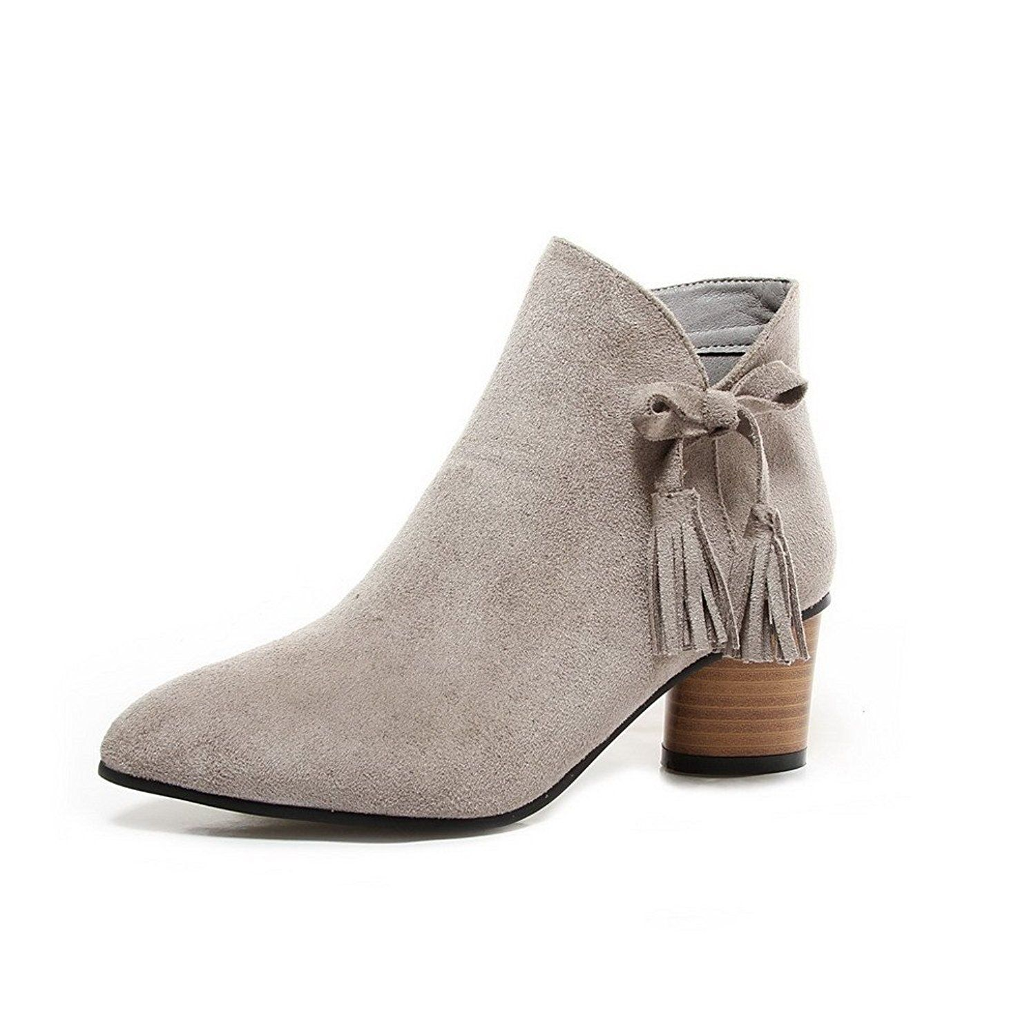 Women's Zipper Kitten-Heels Imitated Suede Solid Ankle-high Boots