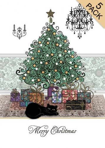 black cat with christmas tree presents card pack - Black Cat Christmas Tree
