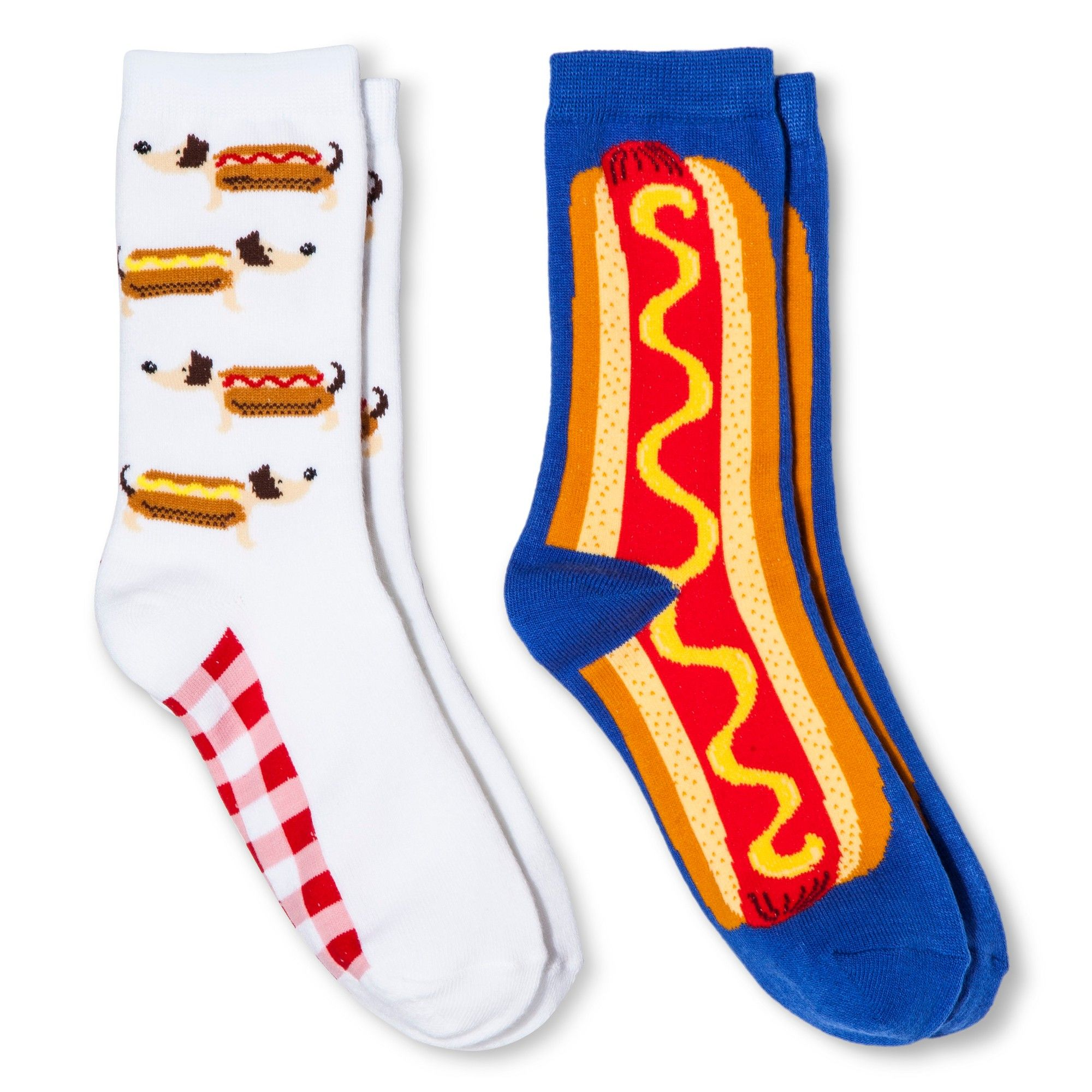 Davco Women\'s 2-Pack Fun Socks Hot Dogs/Big Hot Dog - White One Size ...
