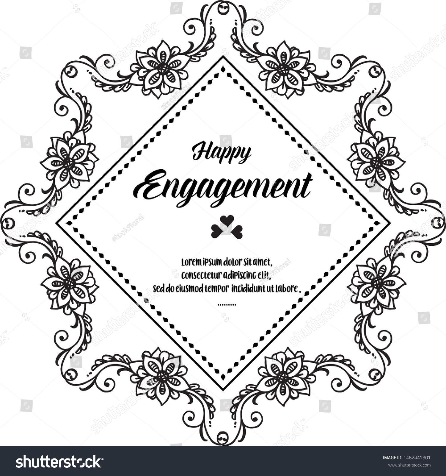Invitation happy engagement, design elegant card, decoration ...