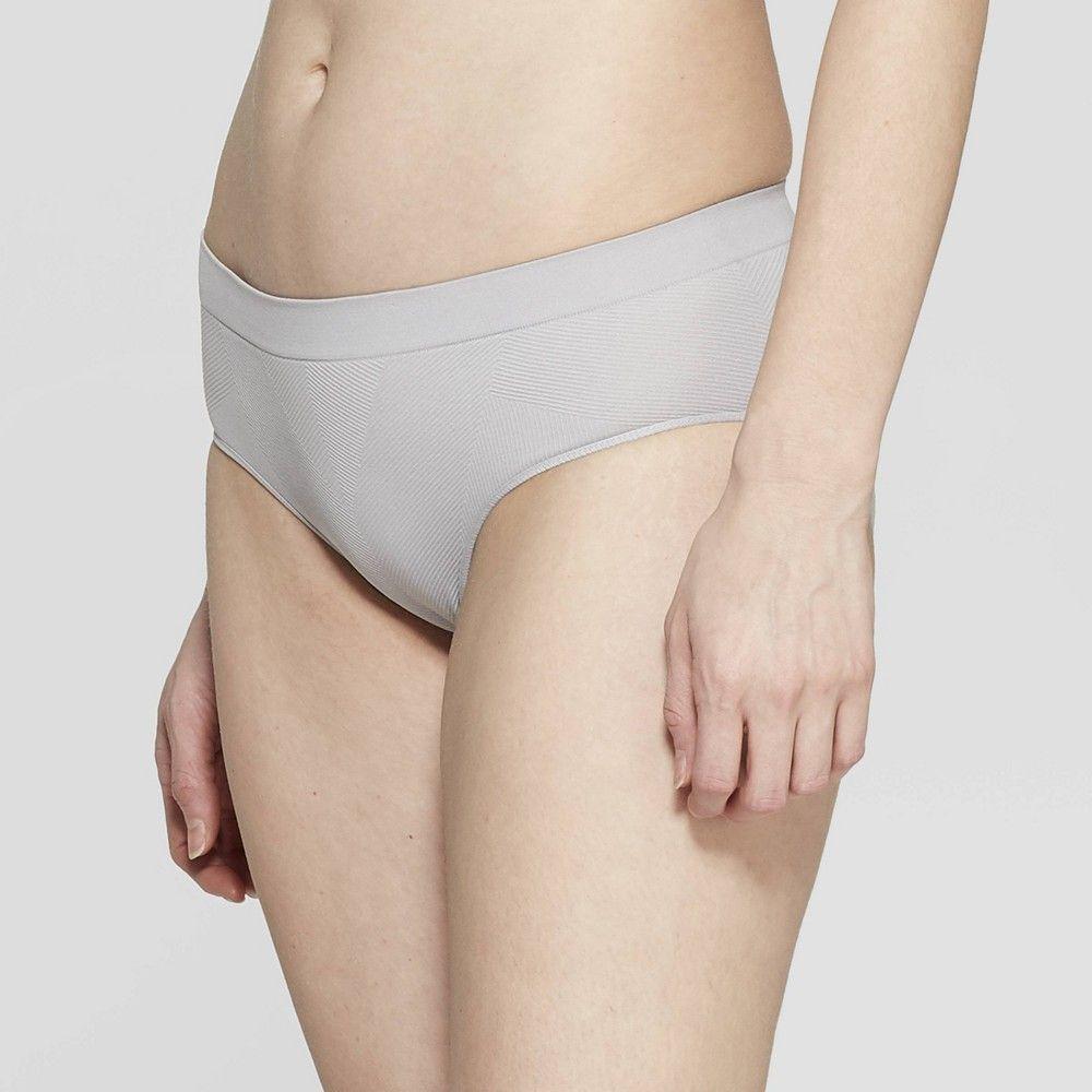 Women's Textured Seamless Hipster - Auden™ Light Gray XS
