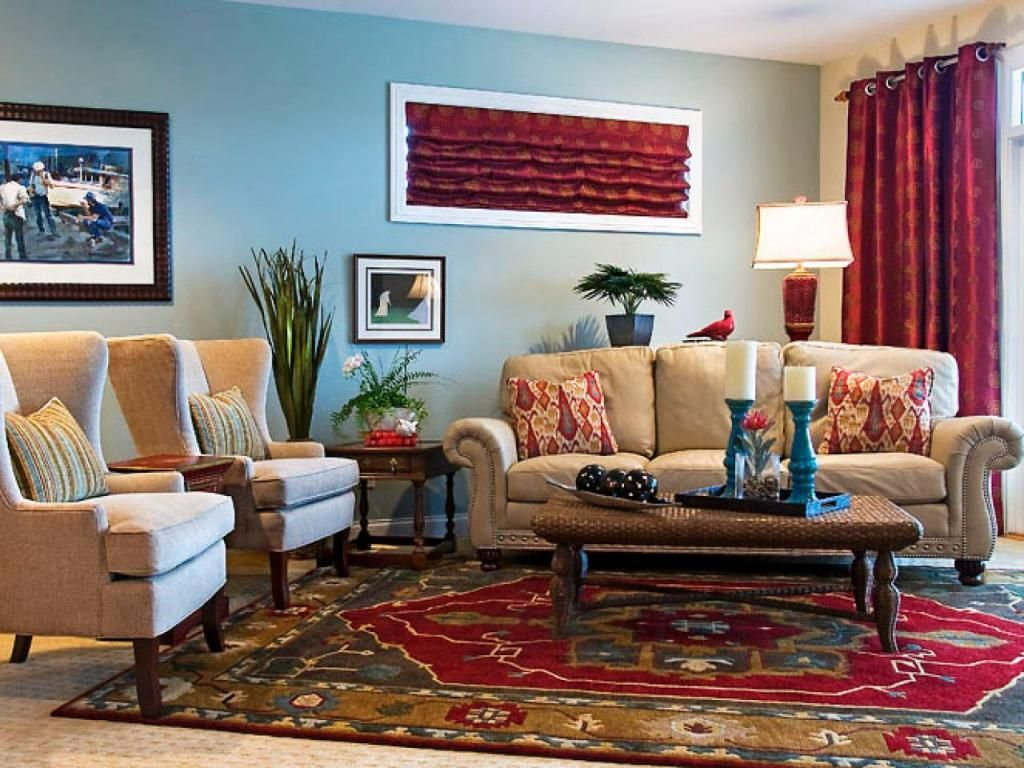 Persian Rug And Maroon Curtain For Eclectic Family Room Decorating Ideas Family Room Decorating Eclectic Living Room Eclectic Living Room Design
