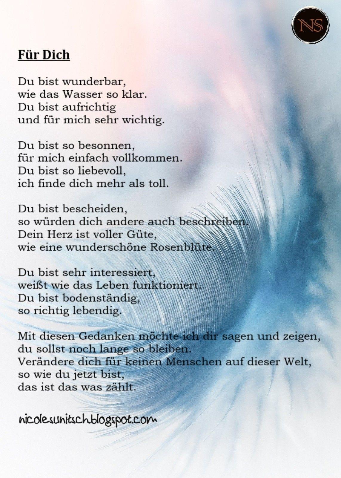 Pin von Gedichte - Nicole Sunitsch auf Gedichte für die