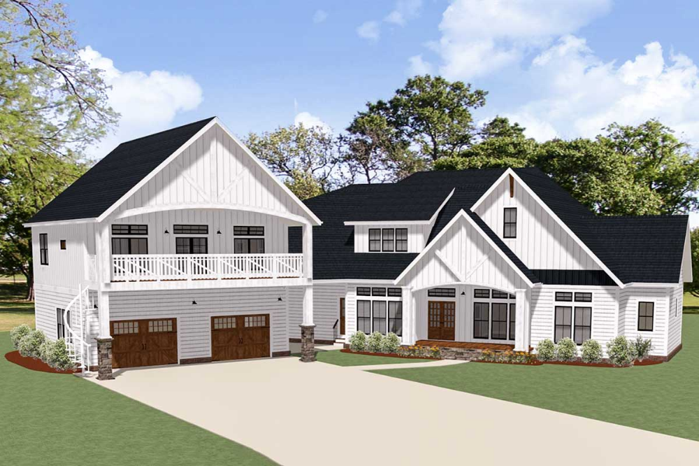 Plan 46384la New American House Plan With Separate Garage Apartment American Houses House Plans Farmhouse Dream House Plans