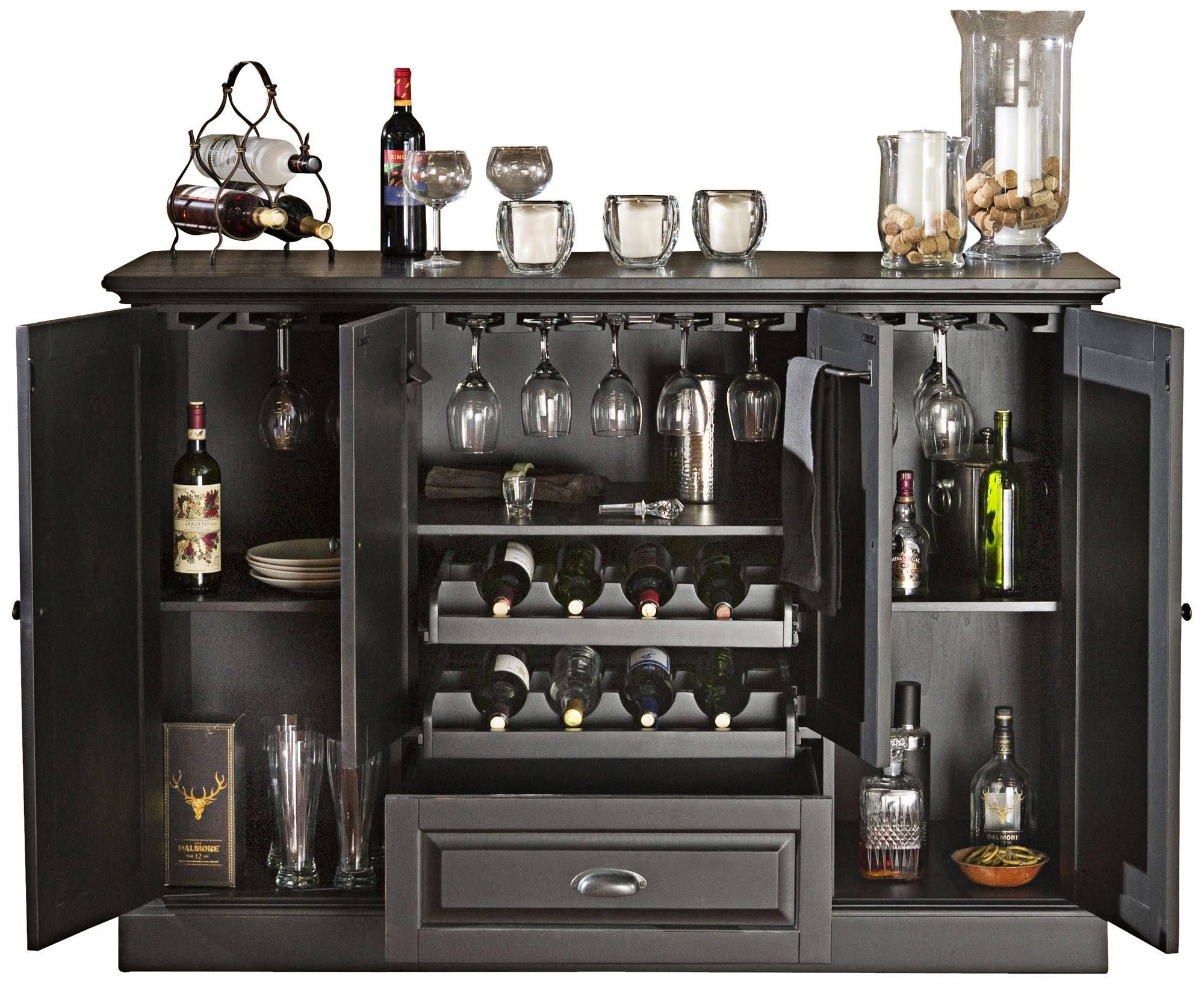 American Heritage Billiards Bar Sets Carlotta 4 Door Wood Server In Antique  Black 600055AB