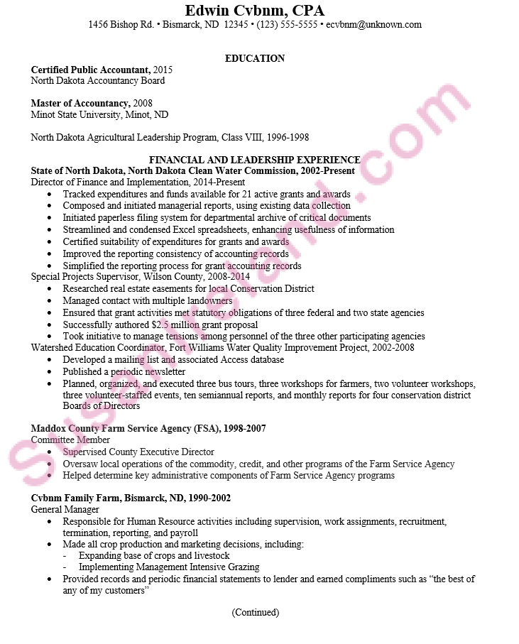 Resume For Certified Public Accountant Cpa Susan Ireland Resumes