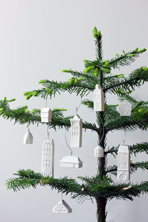 Amsterdam ornament - pure white unglazed porcelain holiday ornament modern designer dutch holland #purewhite