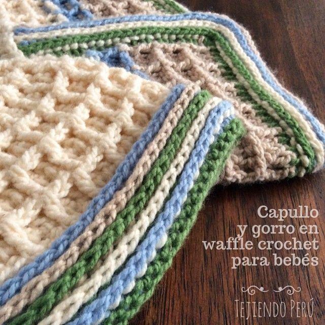 Conjunto de capullo o cocoon y gorrito tejidos en waffle crochet ...