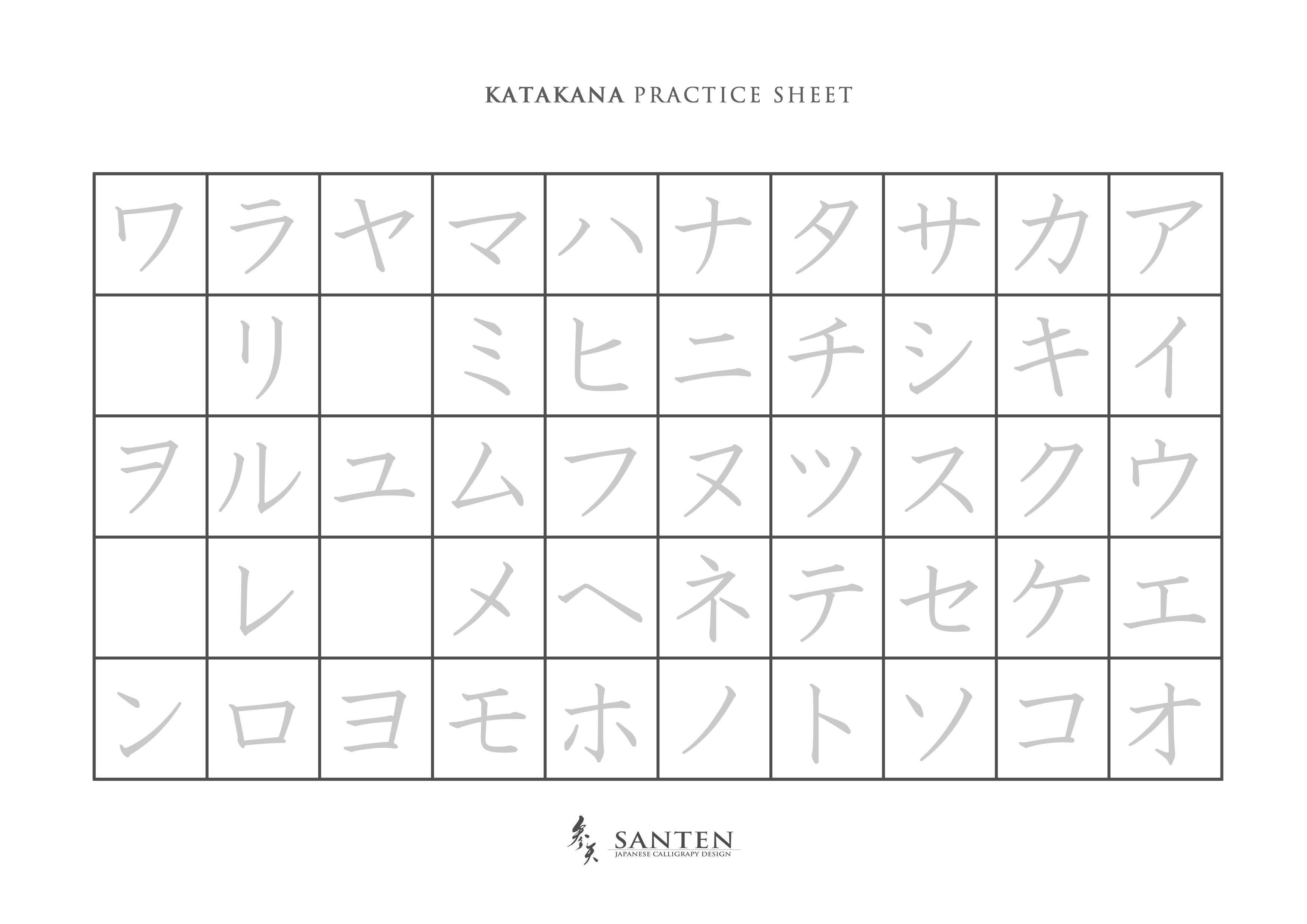 Japanese Katakana Practice Sheet How To Use Katakana