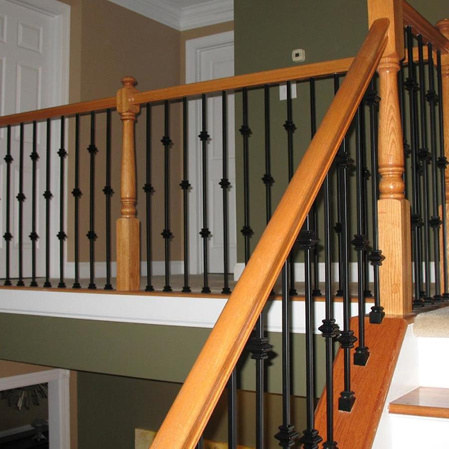 Best Wm Coffman Knuckle Series 44 In Satin Black Wrought Iron Classic Stair Baluster At Lowes Com 400 x 300