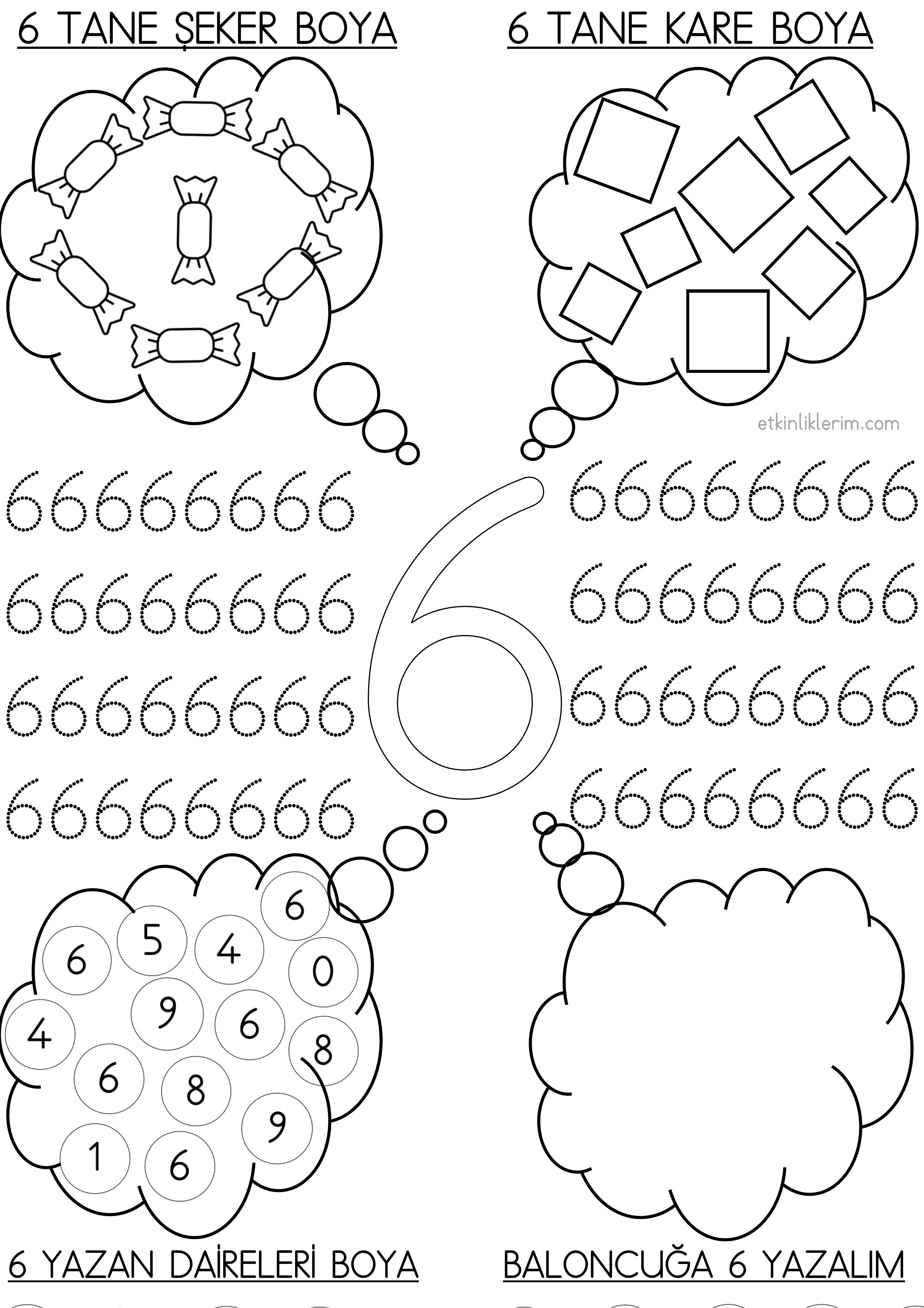 6 Rakami Okul Oncesi Baloncuklu Etkinlik Okul Okul Oncesi Anaokulu Matematigi
