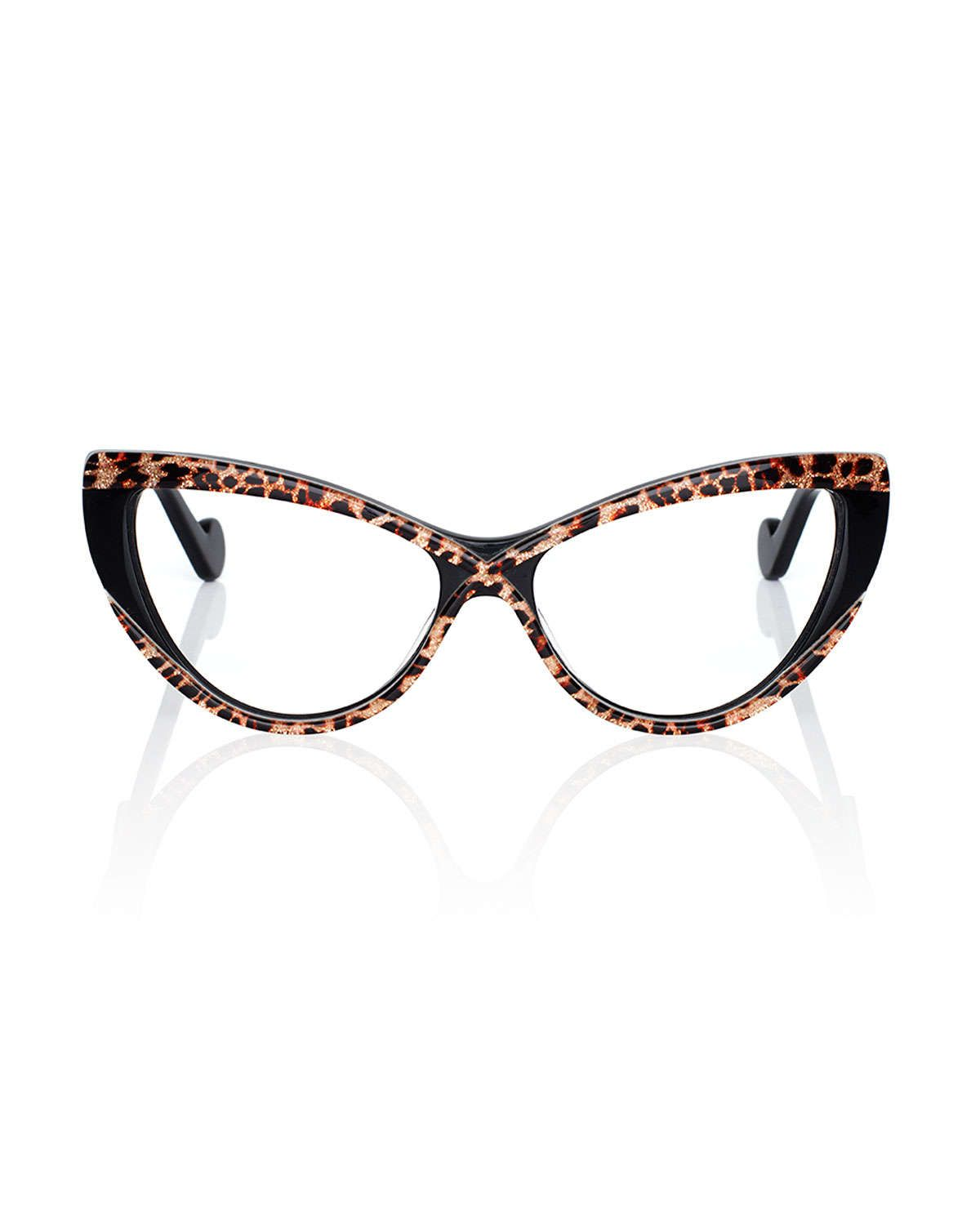 Luscious Cat-Eye Fashion Glasses, Gold/Leopard