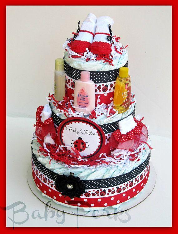 Ladybug Diaper Cake Ladybug Baby Shower Baby Shower By MsPerks