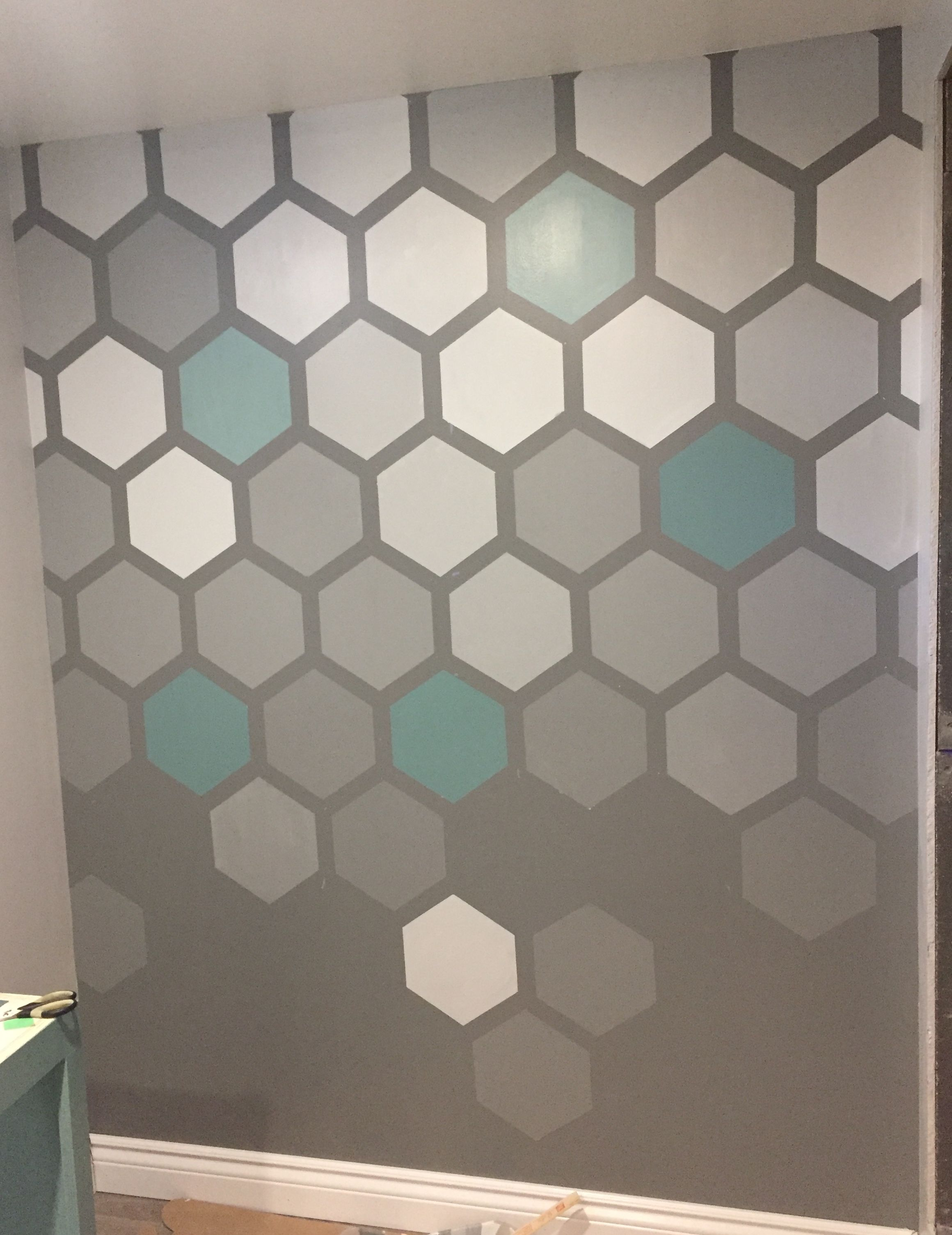 Hexagon Painted Accent Wall Wall Paint Patterns Accent Wall Paint Feature Wall Living Room