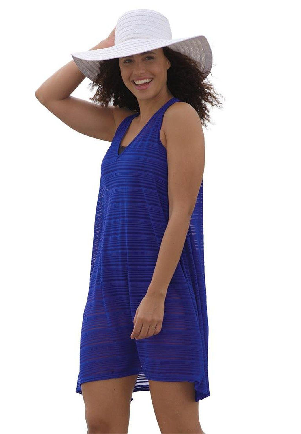 1da87b14fc8ed Women s Plus Size Swim Cover-Up Dress In Soft Voile With Handkerchief Hem  at Amazon Women s Clothing store