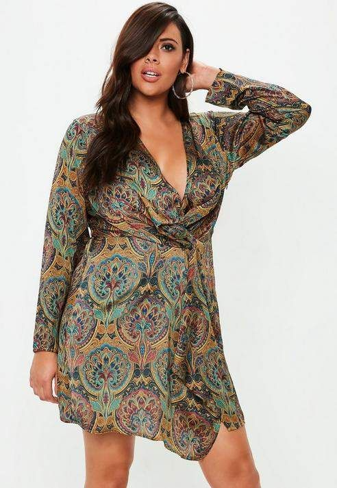 Plus Size Paisley Gathered Mini Dress | Products | Plus size ...