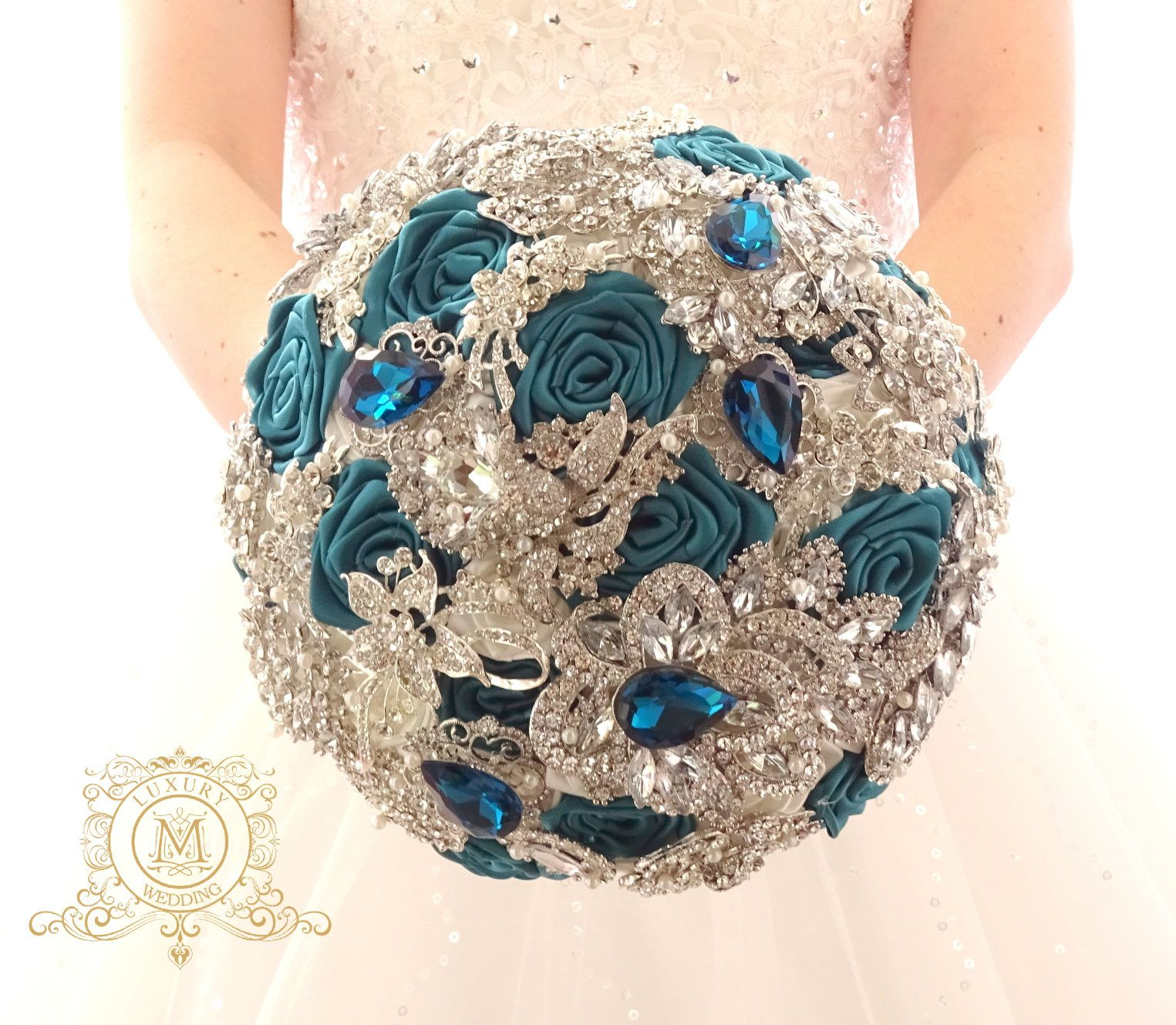Pearl Cascading Full Jeweled Silver Brooch Bouquet By