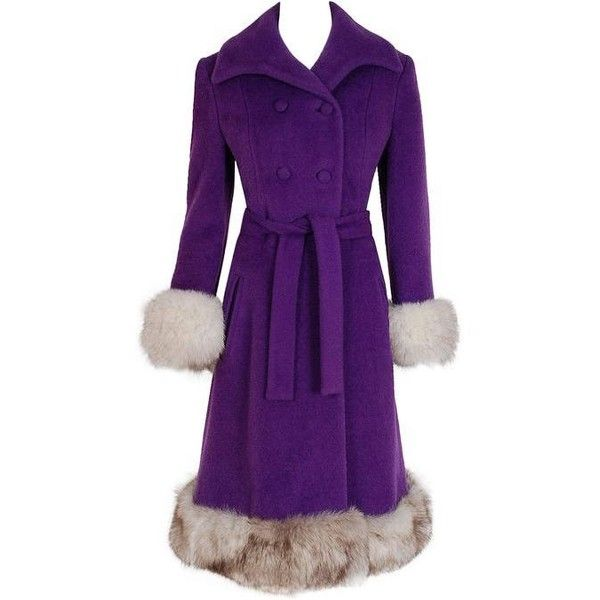 Preowned 1960's Lilli-ann Purple Wool & Fox Fur Double-breasted Belted... (€735) ❤ liked on Polyvore featuring outerwear, coats, jackets, purple, double breasted belted coat, fitted coat, leather-sleeve coats, fox fur coat and belted coat