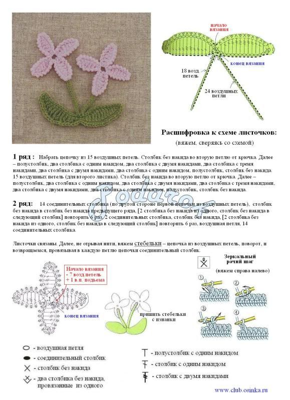 crochet ganchillo flores y hojas